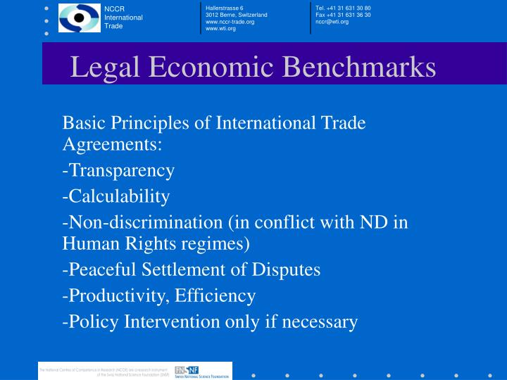 Legal Economic Benchmarks