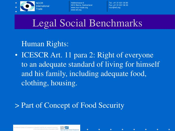 Legal Social Benchmarks