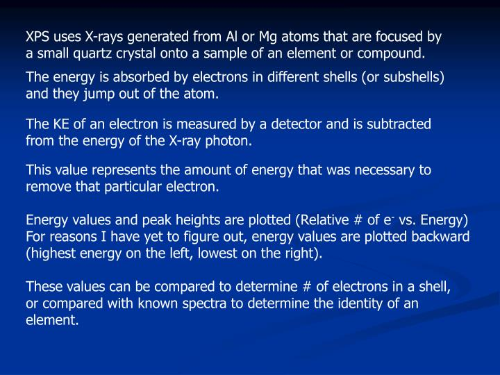 XPS uses X-rays generated from Al or Mg atoms that are focused by a small quartz crystal onto a sample of an element or compound.