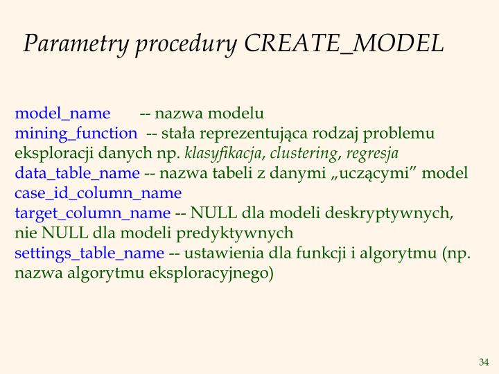 Parametry procedury CREATE_MODEL