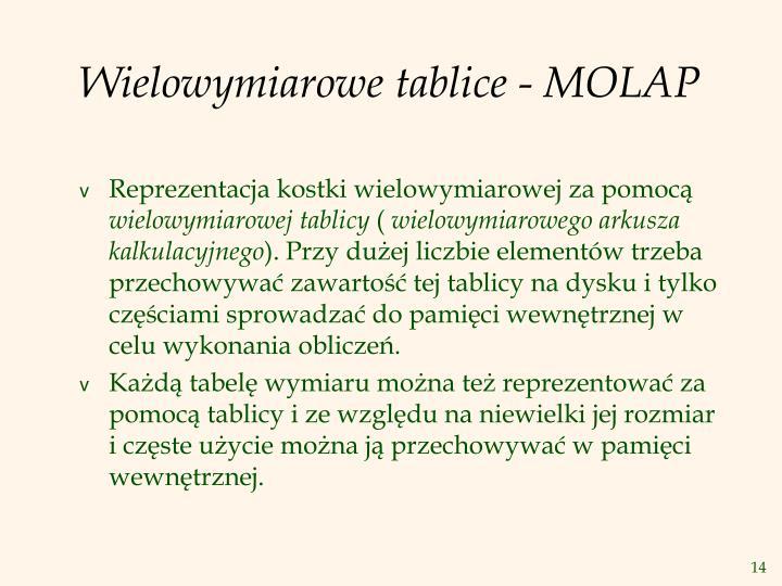 Wielowymiarowe tablice - MOLAP