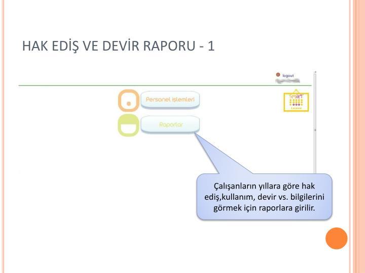 HAK EDİŞ VE DEVİR RAPORU - 1