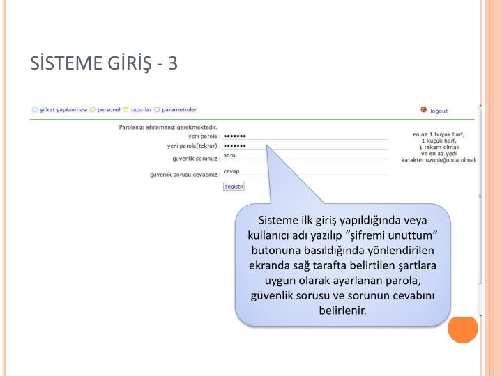 SİSTEME GİRİŞ - 3
