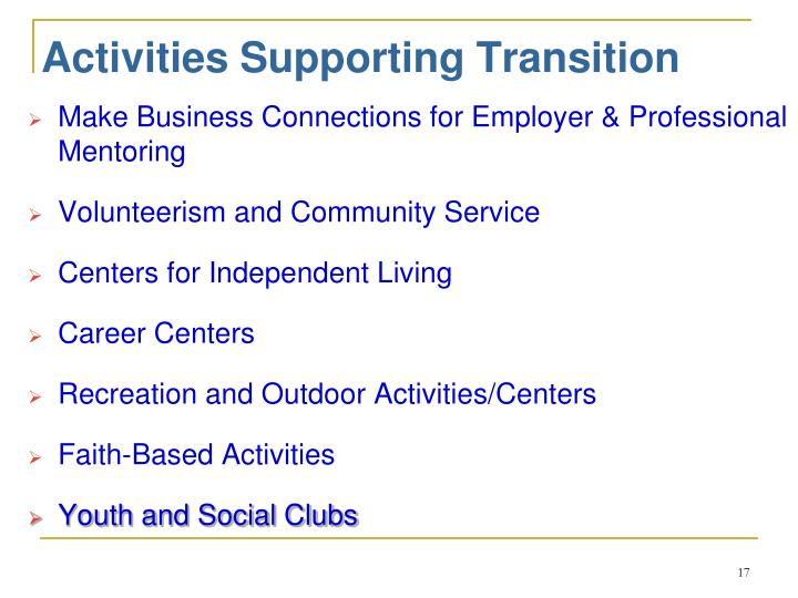 Activities Supporting Transition