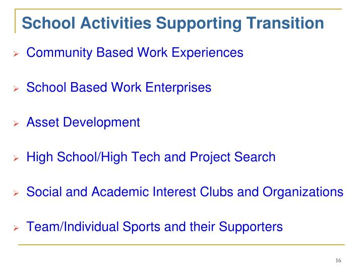 School Activities Supporting Transition
