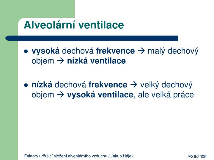 Alveolární ventilace