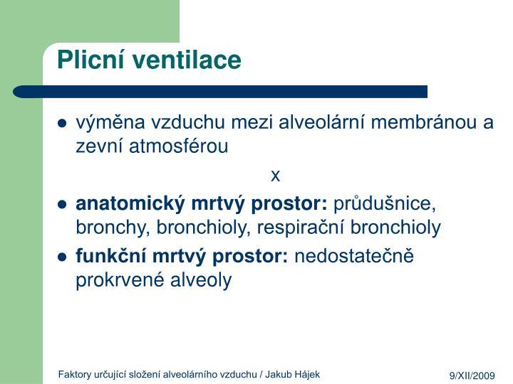 Plicní ventilace