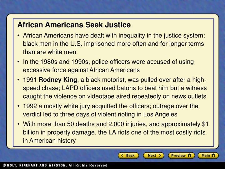 African Americans Seek Justice