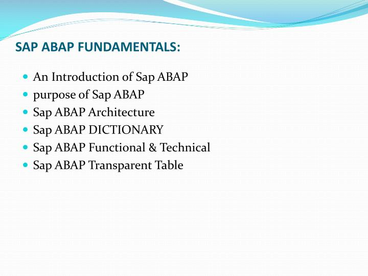 SAP ABAP FUNDAMENTALS: