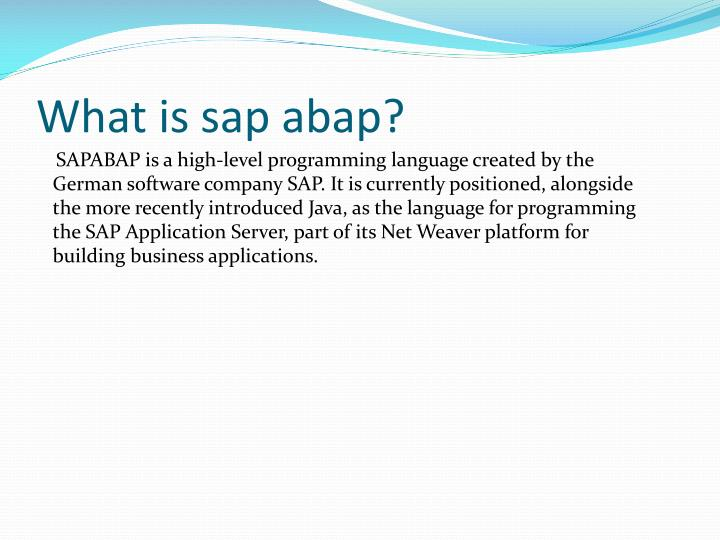 What is sap abap?
