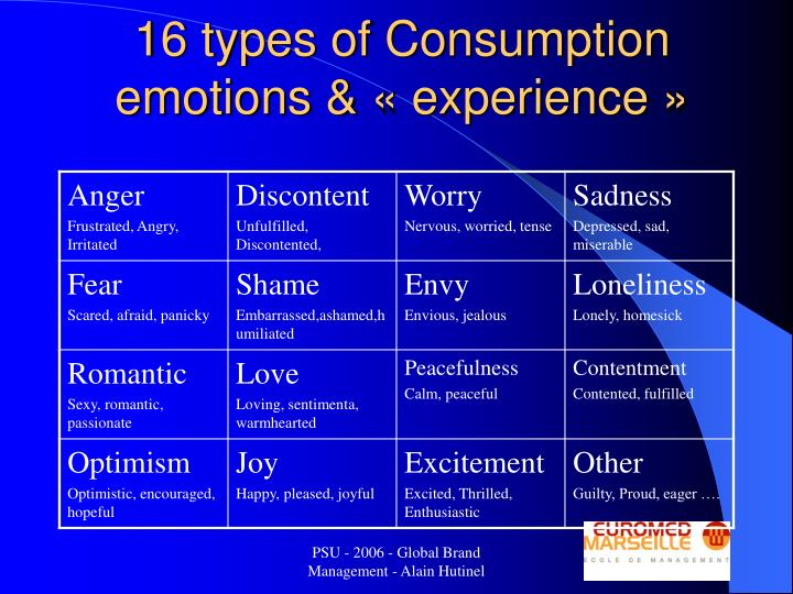 16 types of Consumption emotions & «experience»