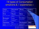 16 types of consumption emotions experience