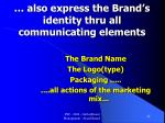 also express the brand s identity thru all communicating elements