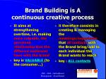 brand building is a continuous creative process