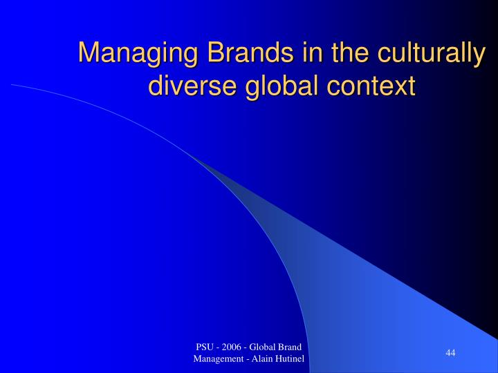 Managing Brands in the culturally diverse global context
