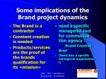 some implications of the brand project dynamics