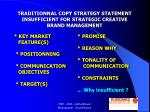 traditionnal copy strategy statement insufficient for strategic creative brand management