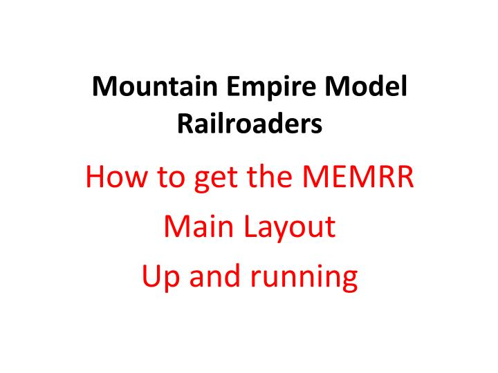 Mountain empire model railroaders