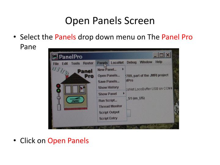 Open Panels Screen