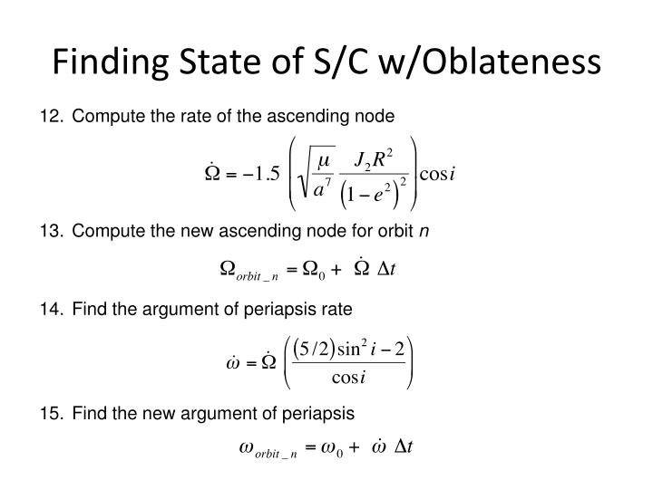 Finding State of S/C w/Oblateness