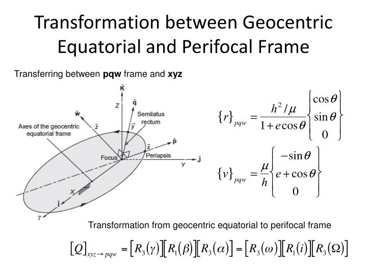 Transformation between Geocentric Equatorial and Perifocal Frame