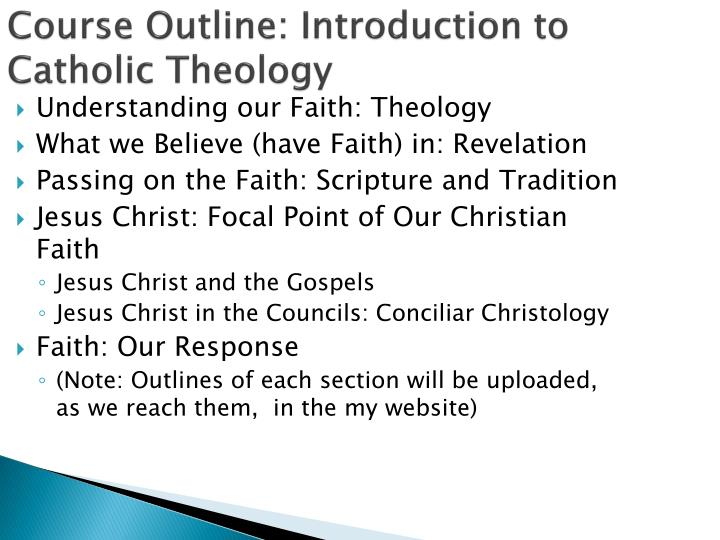 Course Outline: Introduction to Catholic Theology