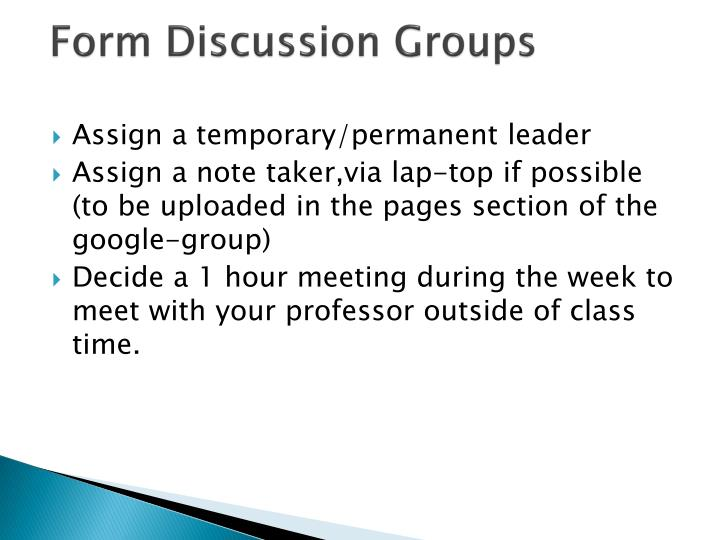 Form Discussion Groups