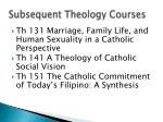 subsequent theology courses