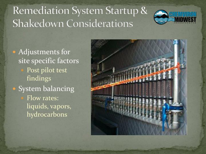 Remediation System Startup & Shakedown Considerations