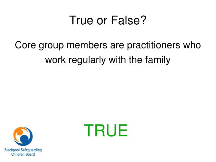 Core group members are practitioners who