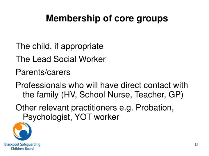 Membership of core groups