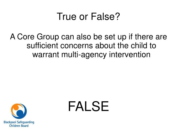 A Core Group can also be set up if there are sufficient concerns about the child to warrant multi-agency intervention