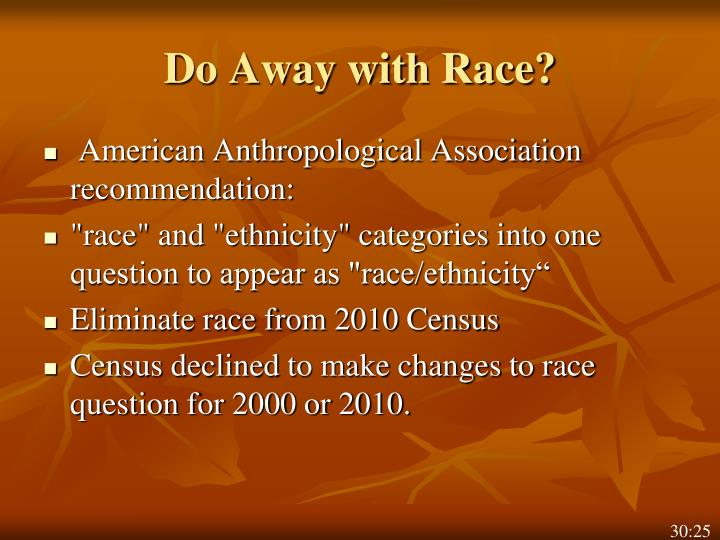 Do Away with Race?