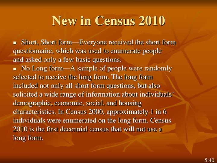New in Census 2010