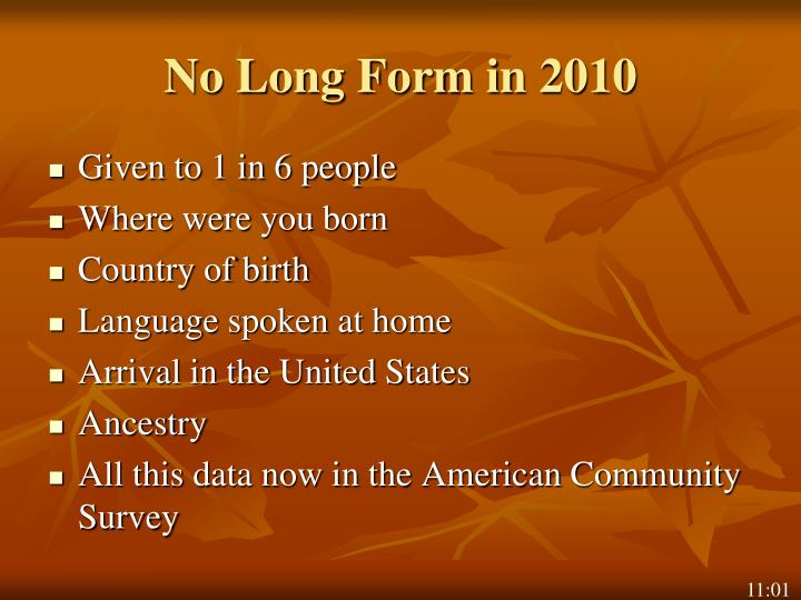 No Long Form in 2010