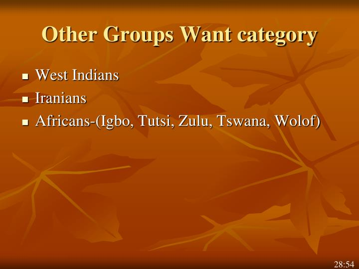 Other Groups Want category