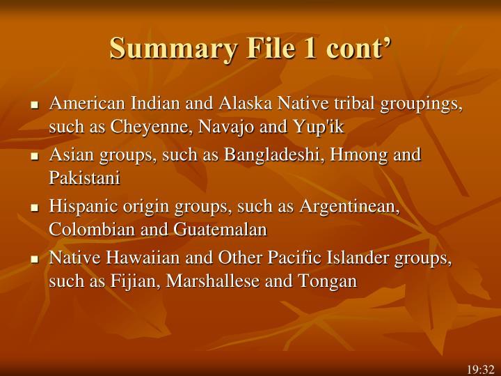 Summary File 1 cont'
