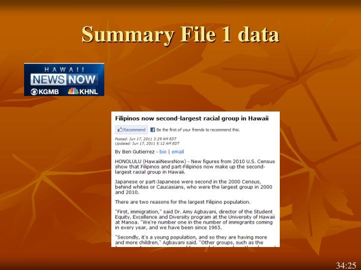 Summary File 1 data