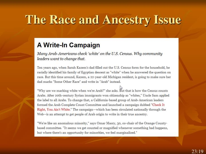 The Race and Ancestry Issue