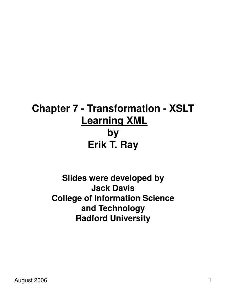 Chapter 7 transformation xslt learning xml by erik t ray