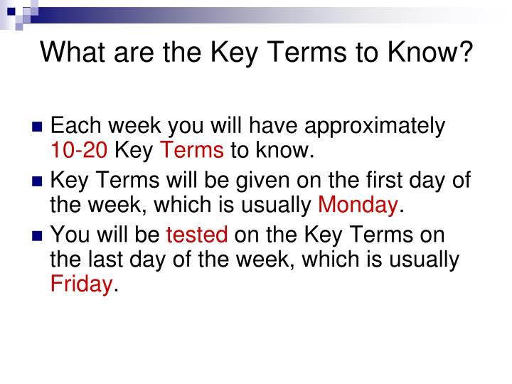 What are the key terms to know