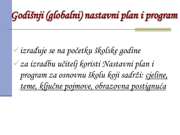 Godišnji (globalni) nastavni plan i program