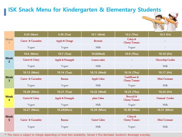 ISK Snack Menu for Kindergarten & Elementary Students