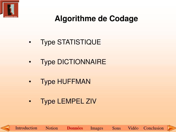 Algorithme de Codage