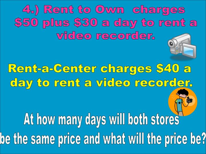 4.) Rent to Own  charges