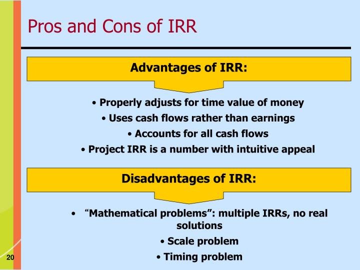 Advantages of IRR: