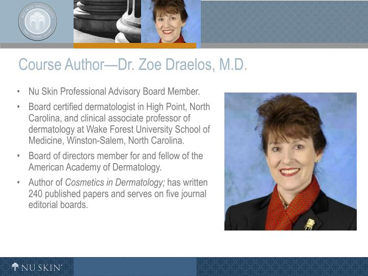 Course author dr zoe draelos m d