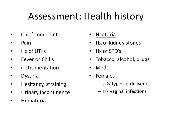 Assessment: Health history