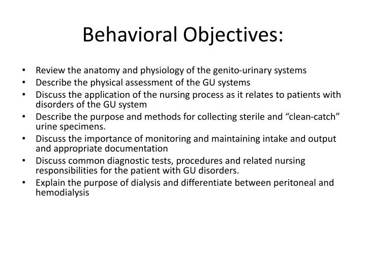 Behavioral Objectives: