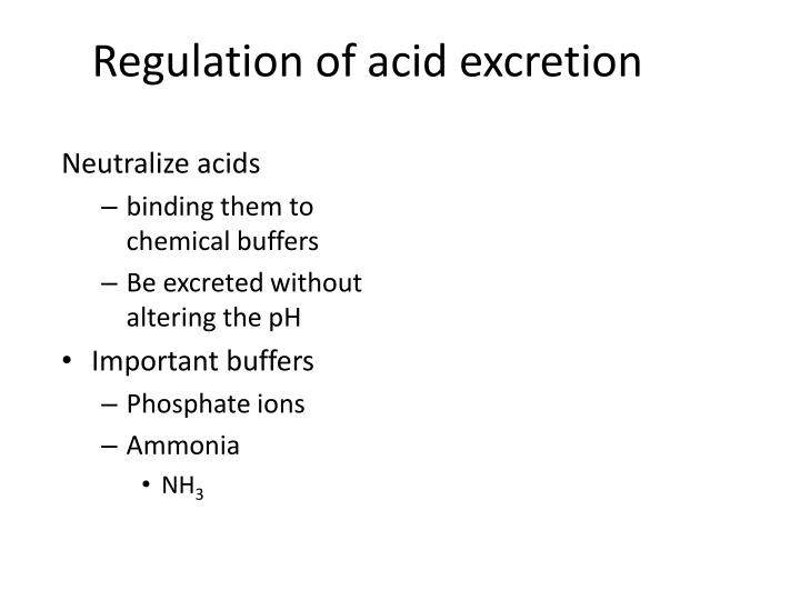 Regulation of acid excretion
